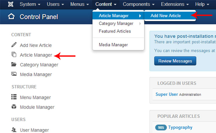 joomla3 article manager