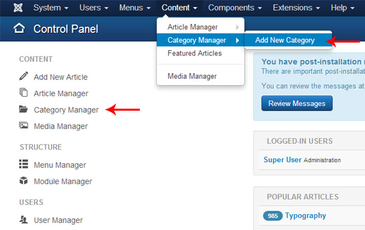 joomla3 category manager