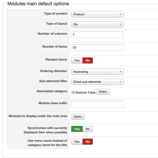 Modules main default options
