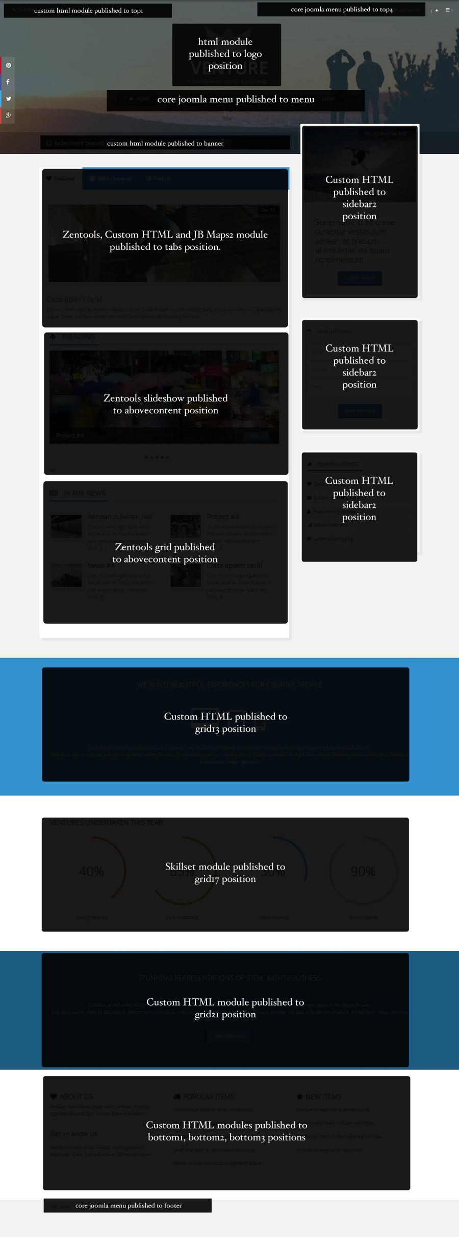 venture Front page setup
