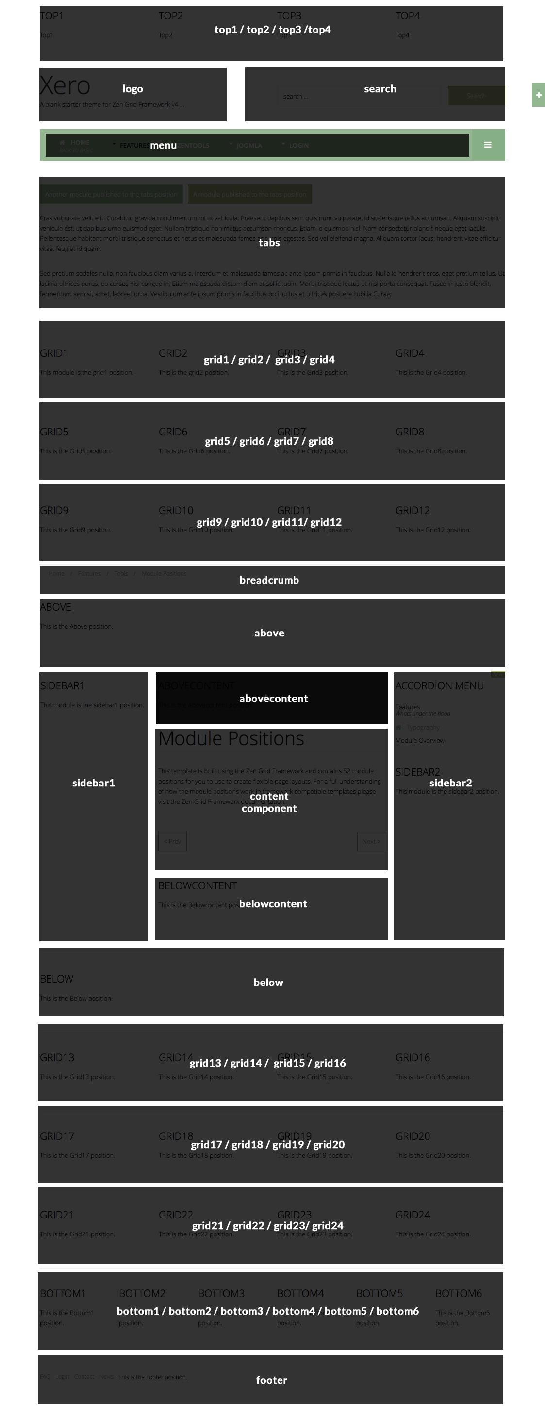 xero Module Positions